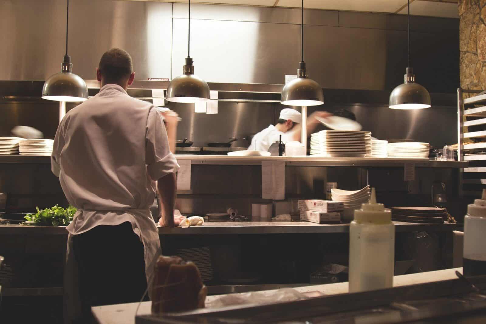 Sous chef working in a restaurant kitchen