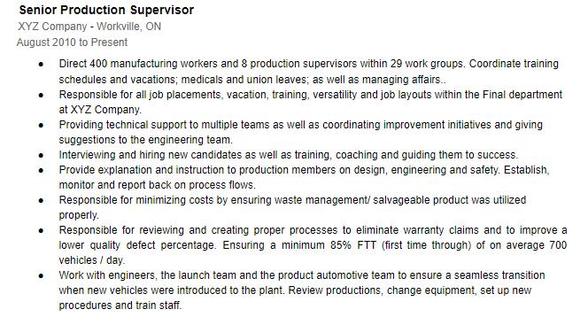 Resume with proper job descriptions